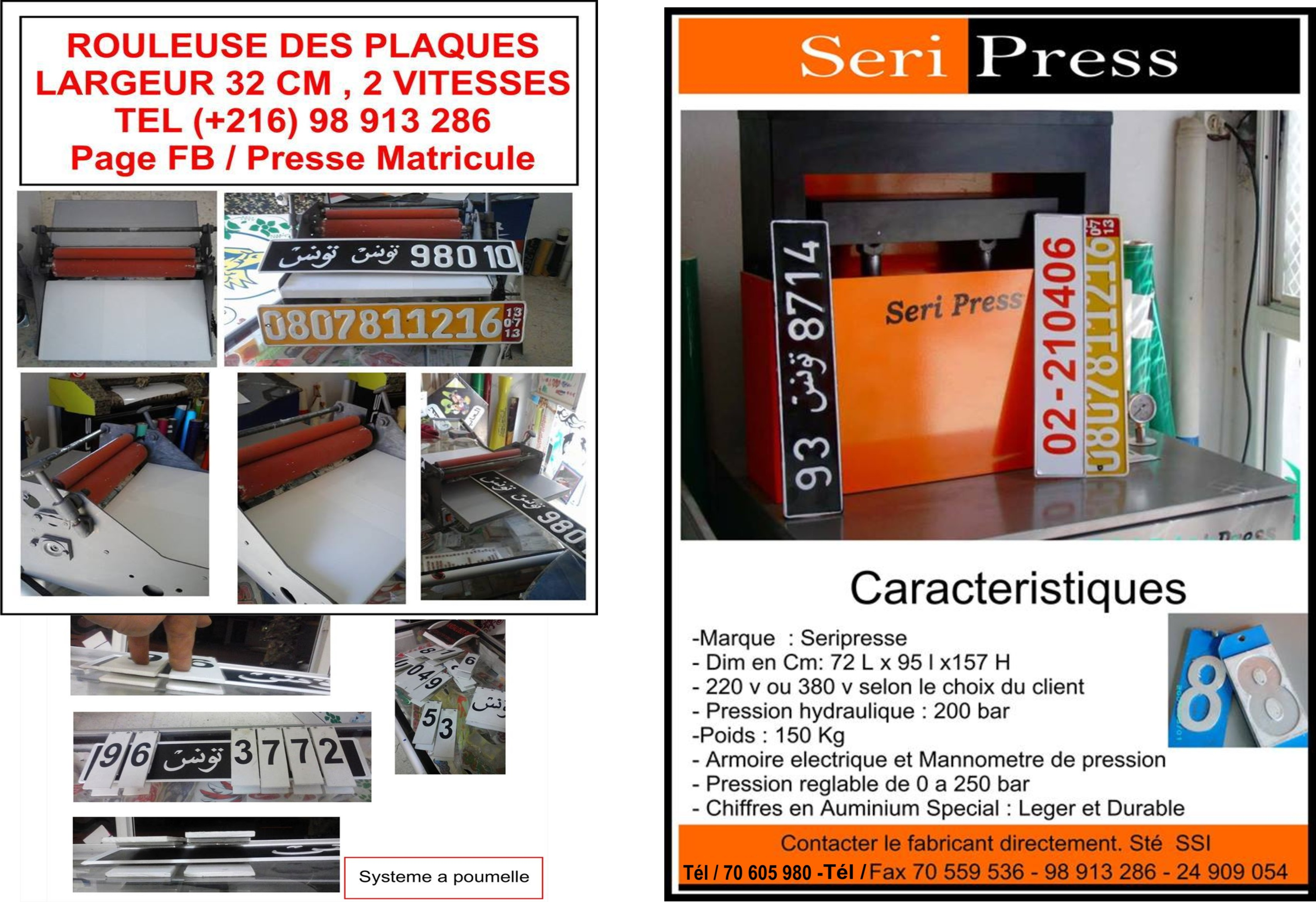 Presse d'immatriculation hydraulique ouedkniss